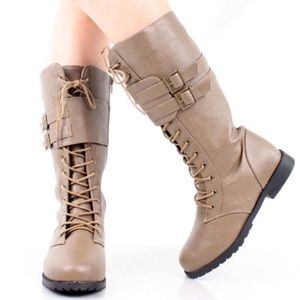 Lace Up Side Zip Double Buckle Moto Combat Boots